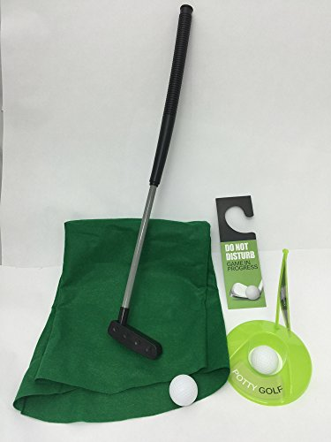 Golf Potty Putter Putting Game - A Whimsical Golfing Indoor Practice Mini Golf Gag Gift Set - Kids Men Funny Novelty Toy Training Accessory Aid for Any Toilet - 7 Pc Set by Perfect Life Ideas - 1 Set