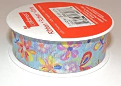Bright Beautiful Flowers Decorative Ribbon - Continuous 9 Foot Roll X 1 Inch Wide