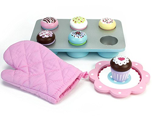 Childrens Wooden Play & Pretend Food Set, Making Cakes Set with Pot Holder, Tray, Cupcakes & More! Wood Play Food Making Cakes Set (Play Dessert Food compare prices)