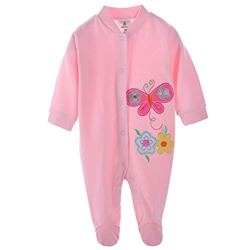 DANROL Baby Girls' Cartoon Cotton Long Sleeve Footie 12M Butterfly