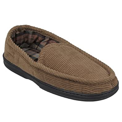 Boston Traveler Mens Lined Corduroy Moccasin Slipper Shoes (12, Brown)