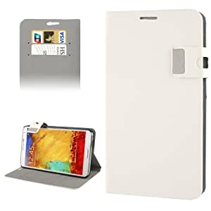 Magnetic Buckle Leather Case with Credit Card Slots & Holder for Samsung Galaxy Note 3 N9000 (White)