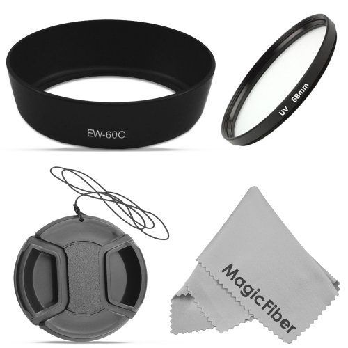 58Mm Ew-60C Dedicated Lens Hood For Canon Ef-S Usm 18-55Mm F/3.5-5.6 Is, Ii, Is, 28-80Mm F/3.5-5.6 Ii, Ii Usm, Iii, Iv, V, 28-90Mm F/4.0-5.6 Lenses (Canon Ew-60C Replacement) + Ultraviolet Uv Protection Filter + Center Pinch Lens Cap + Magicfiber Microfib