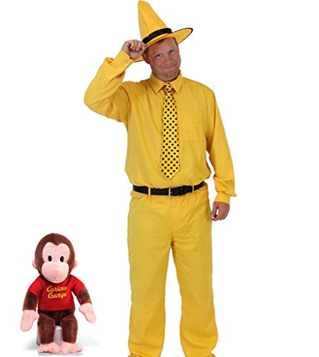 [Curious George Man In The Yellow Hat DELUXE Costume Set (Adult Medium)] (Costumes Curious George)