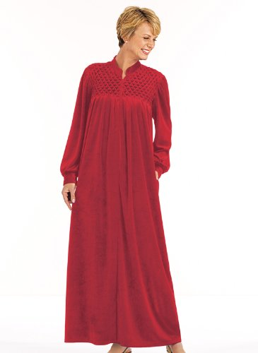 Zip-Front Velour Robe