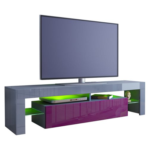 TV Stand Unit Lima in Grey / Raspberry High Gloss Black Friday & Cyber Monday 2014