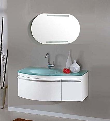 Mobile bagno completo di lavabo rubinetto e specchio con luce l100