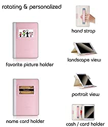 iPad Mini 3 Case,Thankscase Rotating Case with Business Card Holder for Personalization or Company Logo,(Not Fit Mini 4) with Wallet Pocket and Hand Strap Case for iPad Mini 3 Mini 2.(Rose Gold B)