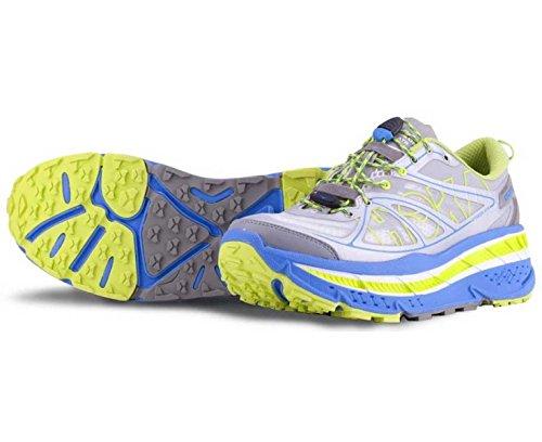 HOKA Stinson ATR Scarpa da Trail Running Uomo, Grigio/Blu/Giallo, 41 1/3