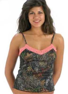 Weber's Pretty in Pink Pink Lace-Trimmed Mossy Oak Break Up Camisole