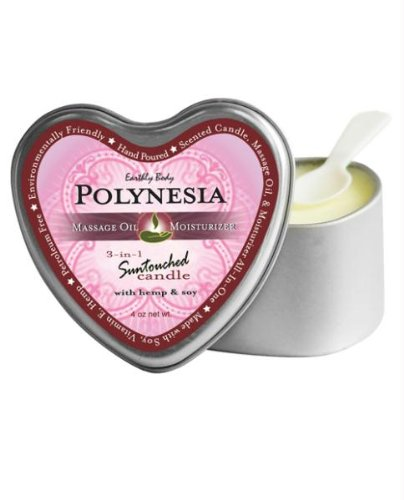Earthly Body Suntouched Hemp Candle Heart Tin, Polynesia, 4 Ounce