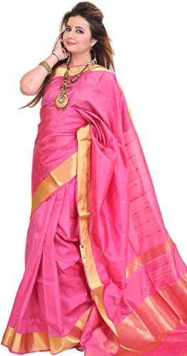 Exotic India Chateau-Rose Sari from Banaras with Woven Bootis and Zari Bo - Pink (Pink Indian Sari Adult Costume)