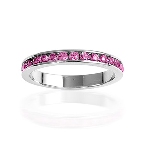 Bling Jewelry Sterling Silver October Birthstone Pink Tourmaline Color CZ Eternity Ring - Size 10