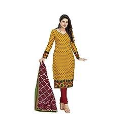 Stylish Girls Women Cotton Printed Unstitched Dress Material (SG302_yellow_Free size)