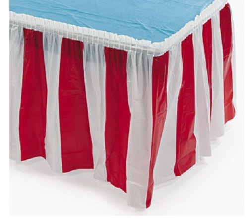 Fun Express Striped Table Skirt, Red/White