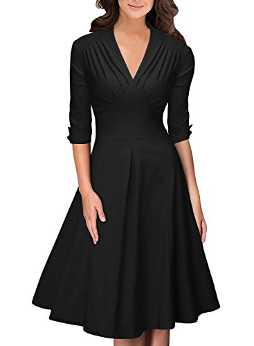 OWIN Women's Retro Deep-V Neck Half Sleeve Vintage Casual Swing Dress Party Dress (XL, Black)