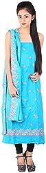 Bee Gee Boutique Women's Cotton Unstitched Dress Materials (BG-37, Blue)