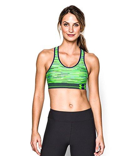 Under Armour Women's Mid Printed Sports Bra, Hyper Green/Europa Purple/Jazz Blue, Medium