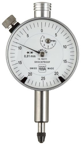 Brown & Sharpe Tesa 01410910 Yr Precision Dial Gauge Indicator With Dial Lock, M2.5 Thread, 8Mm Stem Dia., White Dial, 0-50-100 Reading, 82Mm Dial Dia., 0-10Mm Range, 0.01Mm Graduation, +/-0.015Mm Accuracy front-329634