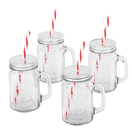 VonShef Set of 4 Mason Glass Drinking Jars 15-Oz Glasses with Reusable Straws, Twist Lids & Handles (Christmas Glass Jars compare prices)