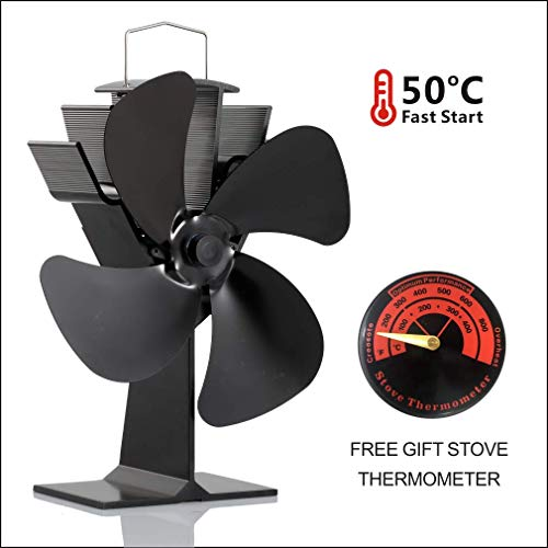 CRSURE Wood Stove Fan with Free Stove Thermometer,Blows Heat Up to 300 f/m- No Electronic Required -+ 50°c Start Silent 4-Blade Heat Powered Stove Fan for Gas/Pellet Stoves (Black)