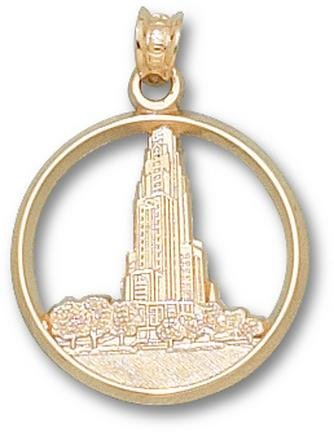 Pittsburgh Panthers Cathedral Learning Pendant - 14KT Gold Jewelry by Logo Art