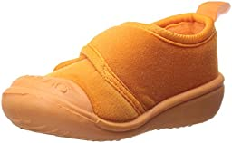 SkidDERS Boys\' Velcro Gripper Slipper, Orange, 20-24 Months M US Toddler