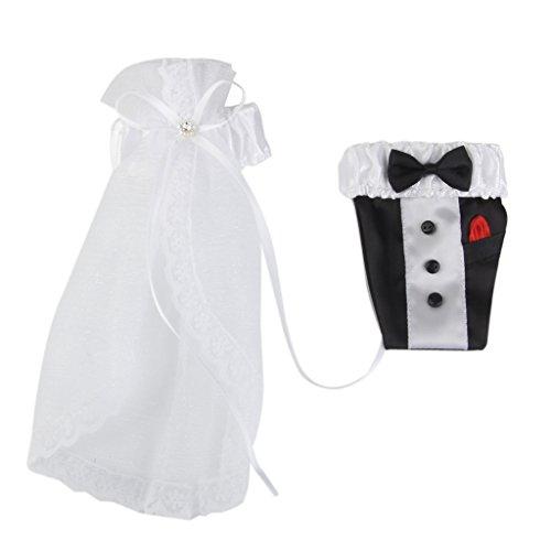 2Pcs Décorations Forme de Robe et Smoking pour Verres à Vin de Jeunes Mariés