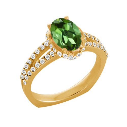 1.36 Ct Green Tourmaline White Sapphire Yellow Gold Plated Sterling Silver Ring