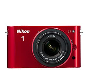 Nikon 1 J1 10.1 MP HD Digital Camera System with 10-30mm VR 1 NIKKOR Lens (Red)