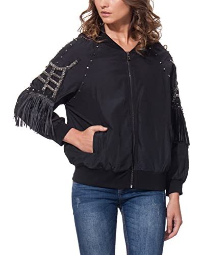 DROLE DE COPINE Jacke Bomber With Studs And Fringes schwarz