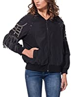 DROLE DE COPINE Chaqueta Bomber With Studs And Fringes (Negro)