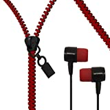 HIGH QUALITY IN-EAR BLACK & RED ZIP ZIPPER EARBUD STEREO HANDS-FREE HEADSET EARPHONE HEADPHONE WITH REMOTE + MIC FOR LG G G2 PAD 8.3 PRO LITE DUAL