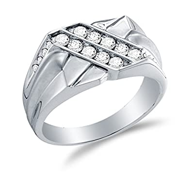 14K White Gold Round Diamond Mens Two Rows Wedding Band Ring - Channel Setting - Curved Notched Band (3/5 cttw.)