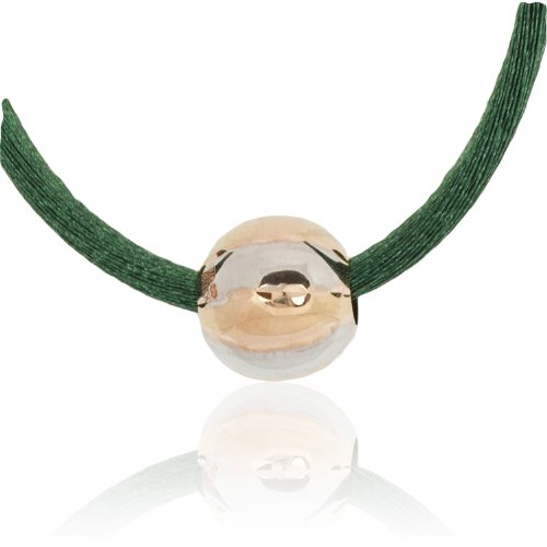 9ct Rose and White Gold Bead and Green Silk Necklace ,