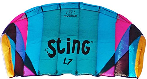 Flexifoil 1.7m2/2.2m Wide Sting 4-line Power Kite with 90 Day Money Back Guarantee! By World Record Power Kite Designer - Safe, Reliable and Durable Family Orientated Power Kiting, Kite Training and Introductory Traction Kiting. (Power Kiting compare prices)