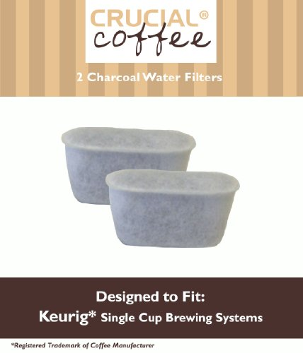 2 Keurig Charcoal Water Filters; Fits Keurig Single Cup Brewing Systems; Designed & Engineered by Crucial Coffee keurig 2 0 refillable k carafe reusable coffee filter replacement orange pack new arrival