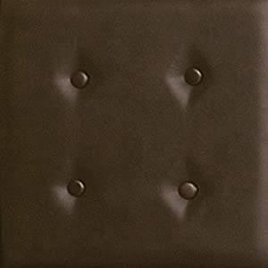 Nexxt FN19238-8 Luxe Series 18 by 18-Inch Faux Leather Dark Brown Wall Panel