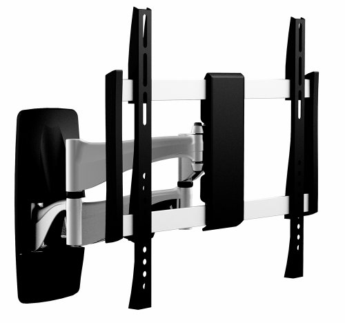 OSD Audio TSM-19-444 Full Motion Universal Wall Bracket Aluminum, Low Profile Single Arm Design Fits Flat Panels for 26-Inch to 47-Inch TV, 2-Piece (Black/Silver)