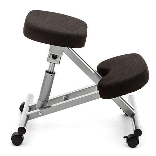 Tomasucci Berger sgabello ergonomico in metallo e tessuto nero con ruote