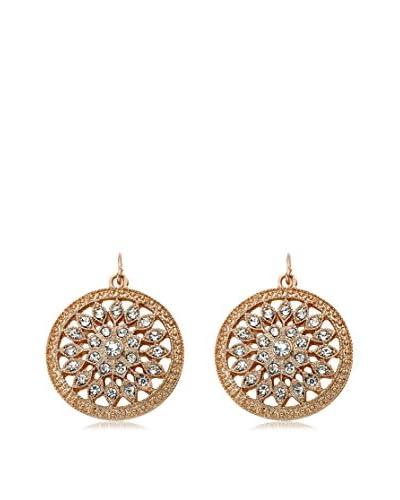 Riccova Country Chic Rose Gold Plated Crystal Flower Center Medallion Dangle Earrings On Fishhook/White Metal