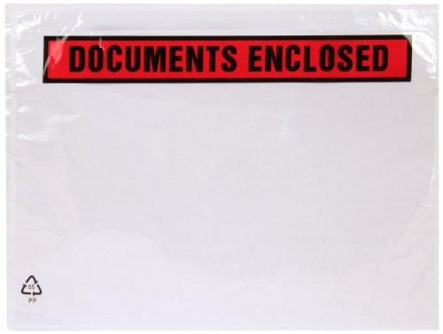 """Purely - Buste stampate con chiusura adesiva, scritta in inglese """"Documents Enclosed"""", formato A4, 328 x 245 mm, confezione da 500"""