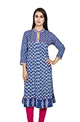 Blue and white Anarkali 3/4 Sleeves Kurta