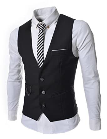 TheLees Mens slim fit chain point 3 button vest Black Medium(US Small)