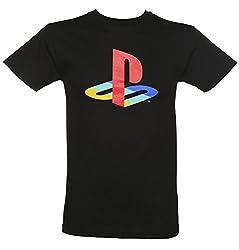 メンズ ブラック プレイ ステーションのロゴ t シャツ