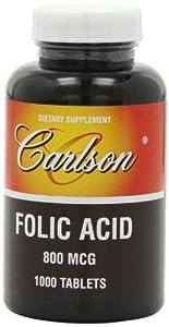 Carlson Labs Folic Acid, 800mcg, 1000 Tablets
