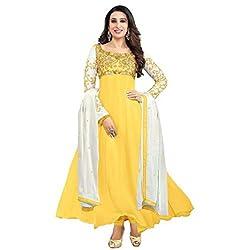 RajLaxmi Women's Fashion Yellow Georgette Dress Material