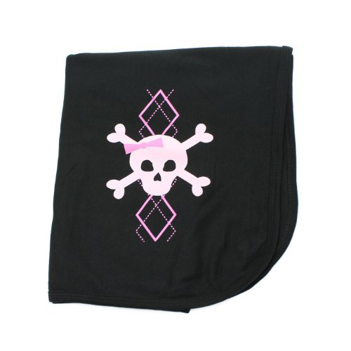 Crazy Baby Clothing Pink Argyle Crossbone Skull Baby Receiving Blanket in Black - 1