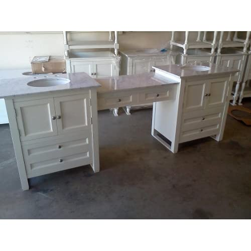 Westside double 96 inch made in the usa bathroom vanity with makeup table Bathroom cabinets made in usa