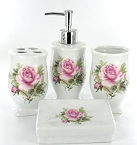 Pink rose flower bathroom accessory set for Floral bath accessories